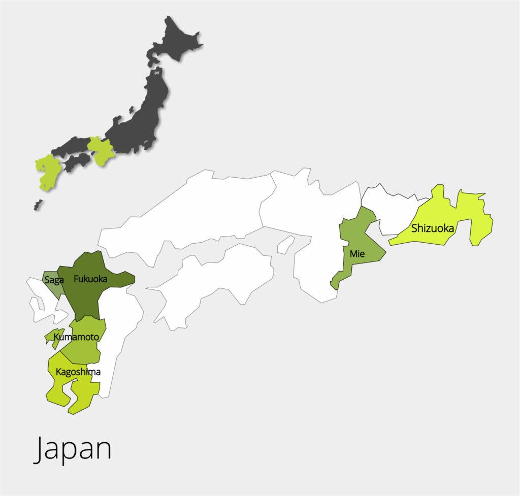 erlesene Teesorten aus Japan, Südkorea, China, Taiwan, Vietnam, Nepal, Indien, Indonesien, Nepal, Indien, Sri Lanka, Afrika
